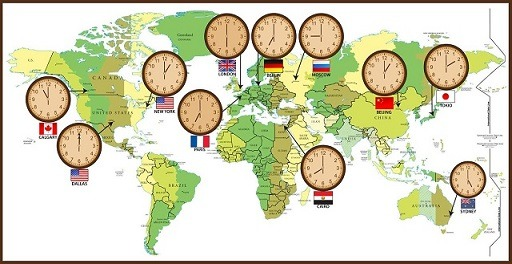 اختلاف ساعت کشورها
