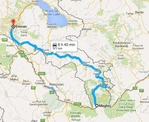 کرایه ماشین دربست از مرز ایران تا ایروان